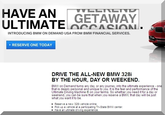 BMW On Demand USA Hourly Daily Weekly Car Rental